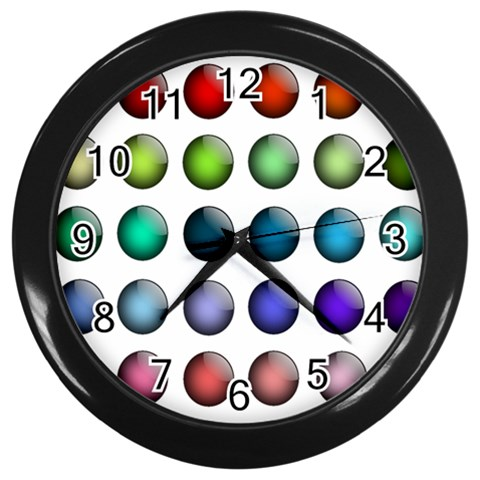 Button Icon About Colorful Shiny Wall Clocks (Black)