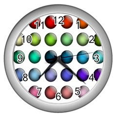 Button Icon About Colorful Shiny Wall Clocks (Silver)