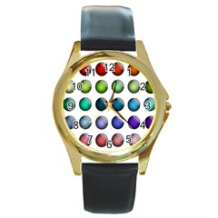 Button Icon About Colorful Shiny Round Gold Metal Watch