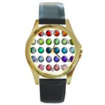 Button Icon About Colorful Shiny Round Gold Metal Watch Front