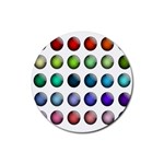 Button Icon About Colorful Shiny Rubber Coaster (Round)  Front