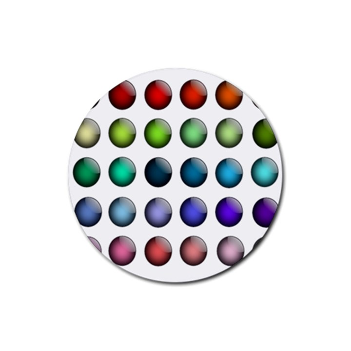 Button Icon About Colorful Shiny Rubber Coaster (Round)