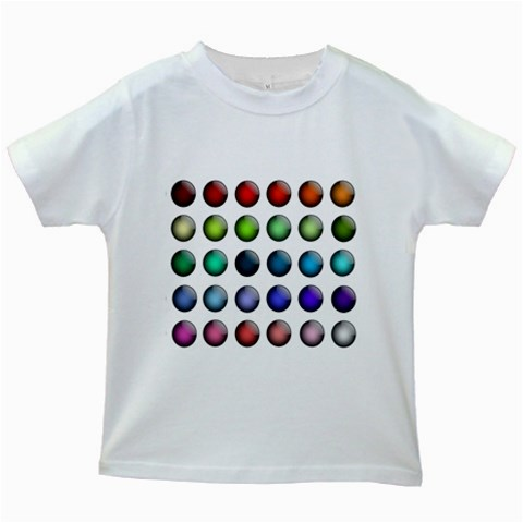 Button Icon About Colorful Shiny Kids White T-Shirts
