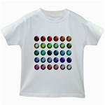Button Icon About Colorful Shiny Kids White T-Shirts Front