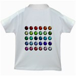 Button Icon About Colorful Shiny Kids White T-Shirts Back