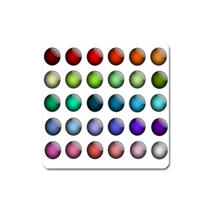 Button Icon About Colorful Shiny Square Magnet