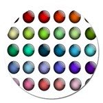 Button Icon About Colorful Shiny Magnet 5  (Round) Front