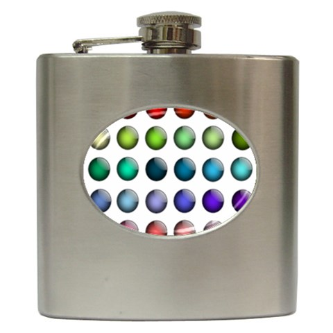 Button Icon About Colorful Shiny Hip Flask (6 oz)