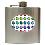 Button Icon About Colorful Shiny Hip Flask (6 oz) Front