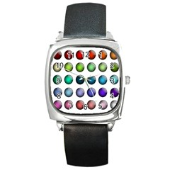 Button Icon About Colorful Shiny Square Metal Watch