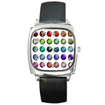 Button Icon About Colorful Shiny Square Metal Watch Front