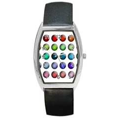 Button Icon About Colorful Shiny Barrel Style Metal Watch