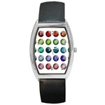 Button Icon About Colorful Shiny Barrel Style Metal Watch Front