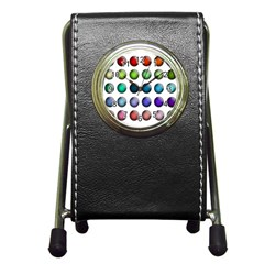 Button Icon About Colorful Shiny Pen Holder Desk Clocks
