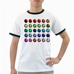 Button Icon About Colorful Shiny Ringer T-Shirts Front