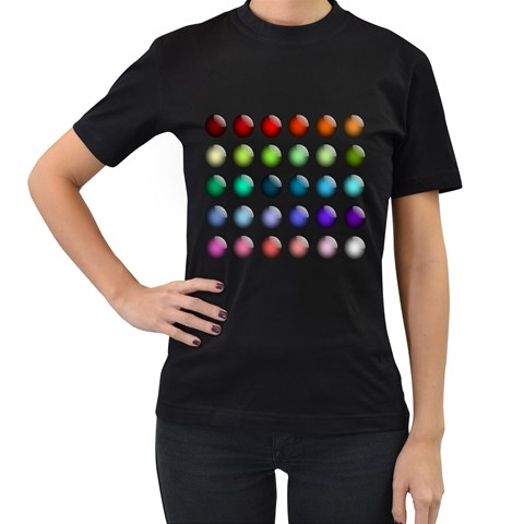 Button Icon About Colorful Shiny Women s T-Shirt (Black) (Two Sided)