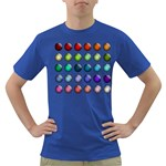 Button Icon About Colorful Shiny Dark T-Shirt Front