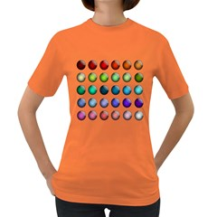 Button Icon About Colorful Shiny Women s Dark T-Shirt