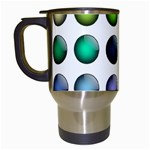Button Icon About Colorful Shiny Travel Mugs (White) Left