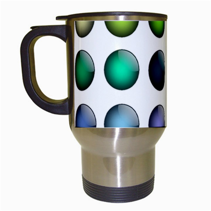 Button Icon About Colorful Shiny Travel Mugs (White)