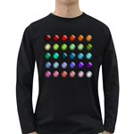 Button Icon About Colorful Shiny Long Sleeve Dark T-Shirts Front