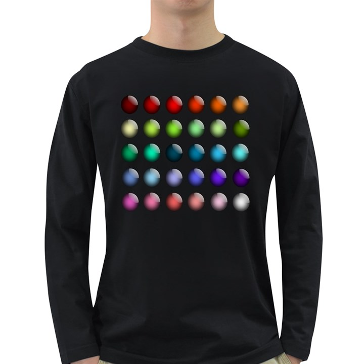 Button Icon About Colorful Shiny Long Sleeve Dark T-Shirts