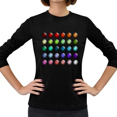 Button Icon About Colorful Shiny Women s Long Sleeve Dark T-Shirts