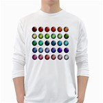 Button Icon About Colorful Shiny White Long Sleeve T-Shirts Front