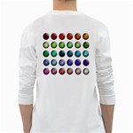 Button Icon About Colorful Shiny White Long Sleeve T-Shirts Back