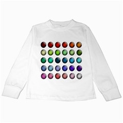 Button Icon About Colorful Shiny Kids Long Sleeve T-Shirts