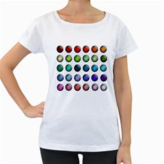 Button Icon About Colorful Shiny Women s Loose-Fit T-Shirt (White)
