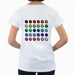 Button Icon About Colorful Shiny Women s Loose-Fit T-Shirt (White) Back