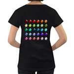 Button Icon About Colorful Shiny Women s Loose-Fit T-Shirt (Black) Back