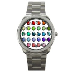 Button Icon About Colorful Shiny Sport Metal Watch