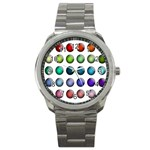Button Icon About Colorful Shiny Sport Metal Watch Front