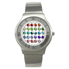 Button Icon About Colorful Shiny Stainless Steel Watch