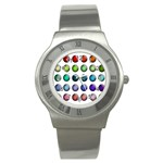 Button Icon About Colorful Shiny Stainless Steel Watch Front