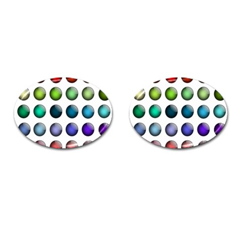 Button Icon About Colorful Shiny Cufflinks (Oval)