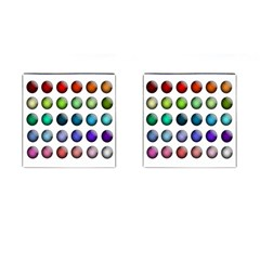 Button Icon About Colorful Shiny Cufflinks (Square)