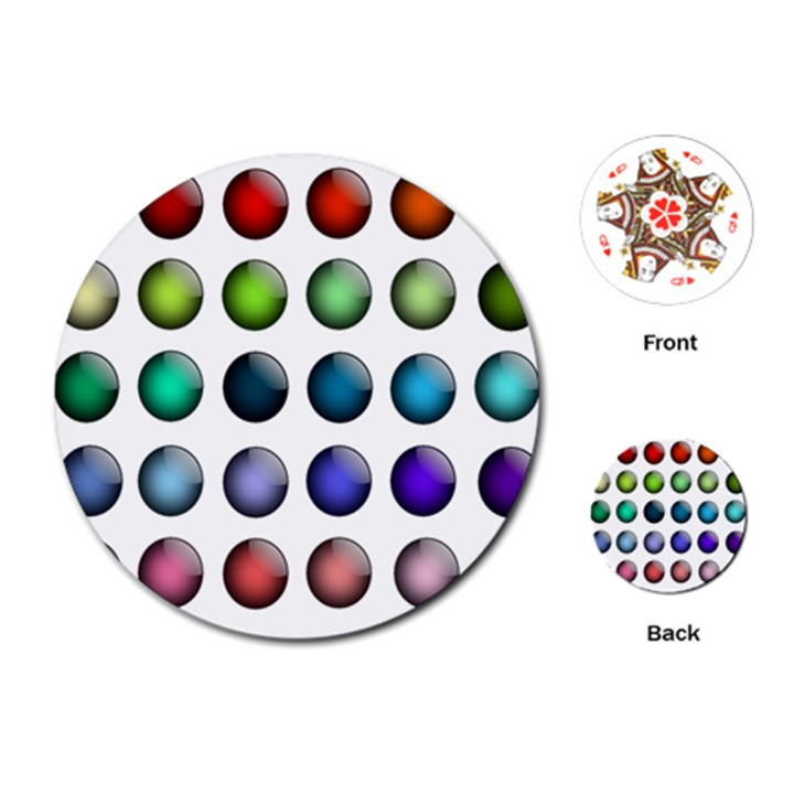 Button Icon About Colorful Shiny Playing Cards (Round)