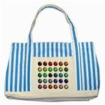 Button Icon About Colorful Shiny Striped Blue Tote Bag Front