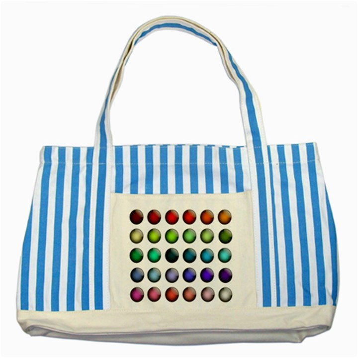 Button Icon About Colorful Shiny Striped Blue Tote Bag