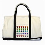 Button Icon About Colorful Shiny Two Tone Tote Bag Front