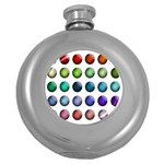Button Icon About Colorful Shiny Round Hip Flask (5 oz) Front