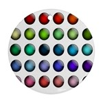 Button Icon About Colorful Shiny Round Ornament (Two Sides)  Back