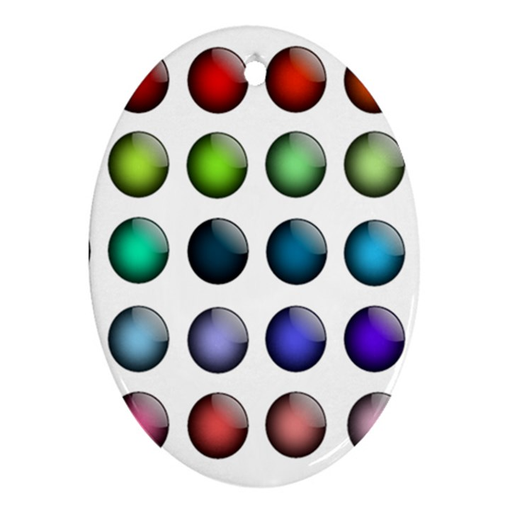 Button Icon About Colorful Shiny Oval Ornament (Two Sides)