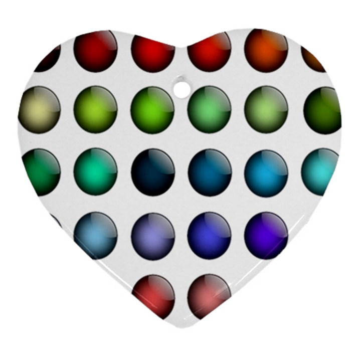 Button Icon About Colorful Shiny Heart Ornament (2 Sides)