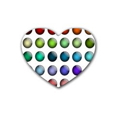 Button Icon About Colorful Shiny Rubber Coaster (Heart)
