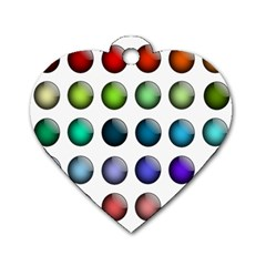 Button Icon About Colorful Shiny Dog Tag Heart (Two Sides)
