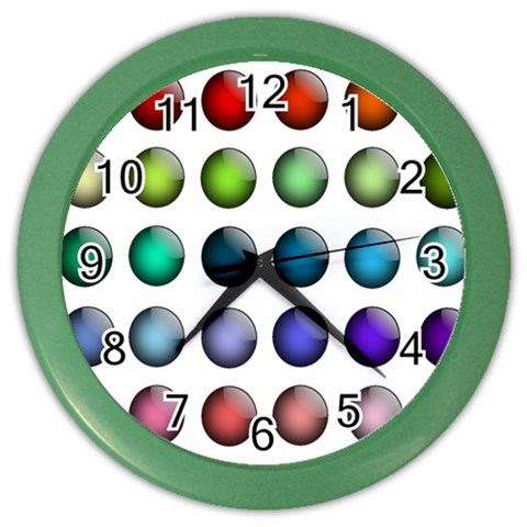 Button Icon About Colorful Shiny Color Wall Clocks